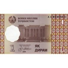 Таджикистан 1 дирам 1999 года.UNC пресс