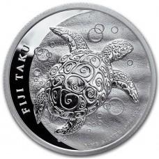 Фиджи 2 доллара 2013. Черепаха Таку. Серебро.1 OZ