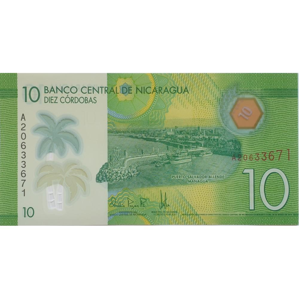 Никарагуа.10 кордоба. 2014 UNC пресс.