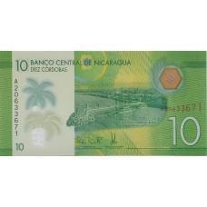 Никарагуа.10 кордоба. 2014 UNC пресс. Полимер (пластиковая банкнота)