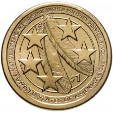 1 доллар 2021 АМЕРИКАНСКИЕ ИНДЕЙЦЫ В АРМИИ США, САКАГАВЕЯ
