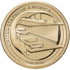 1 доллар 2021 Американские инновации - Мост-тоннель через Чесапикский залив