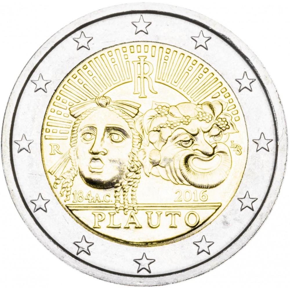 2 Евро 2016 Италия UNC.Плавт Т.М.Римский драмматург-комедиограф