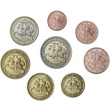 Набор евро монет Литва 2015 год (8 штук) XF