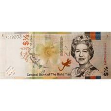 Багамские острова. 1/2 доллара 2019. Портрет Елизаветы II. UNC