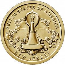 1 доллар 2019 Американские инновации №4 - Лампа накаливания Нью-Джерси