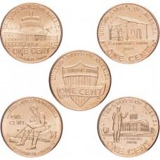 Набор Жизнь Линкольна 1 цент 2009-2018, 5 монет