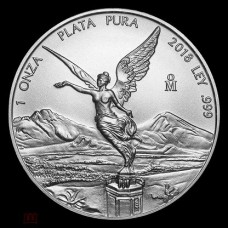Мексика 1 онза 2018.  Свобода Либертад. Серебро 999