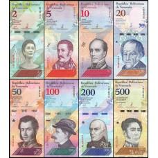 Венесуэла набор банкнот 2018 года, 8 штук, UNC пресс