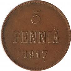 5 пенни Финляндия 1917 года