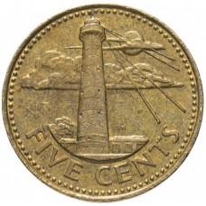 5 центов Барбадос 1985-2007