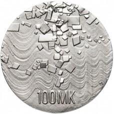 100 марок 1992 Финляндия, 75 лет Независимости. UNC. Серебро