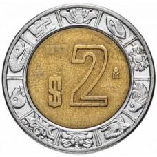 2 песо Мексика 1996-2019