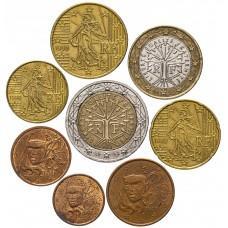 Набор евро монет Франция 1999 год, 8 штук
