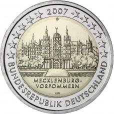 2 Евро 2007 Германия XF (F,G).Вторая монета серии «Федеральные земли Германии» — Мекленбург-Передняя Померания