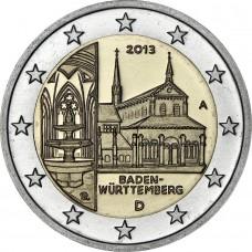 2 Евро 2013 Германия XF (D ).Восьмая монета серии «Федеральные земли Германии» — Монастырь Маульбронн