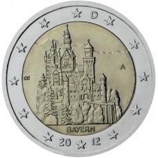 2 Евро 2012 Германия XF .Седьмая монета серии «Федеральные земли Германии» — Замок Нойшванштайн