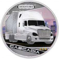 Тувалу 1 доллар 2010 Короли Дорог, машина Freightliner Cascadia (США). Серебро