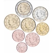 Набор евро монет Бельгия 2011-2015, 8 штук UNC