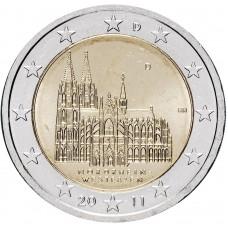 2 Евро 2011 Германия XF ( D).Шестая монета серии «Федеральные земли Германии» — Северный Рейн Вестфалия, Кёльнский собор