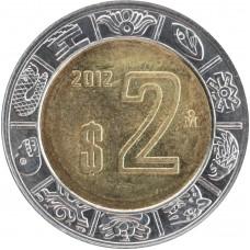 2 песо Мексика 2012