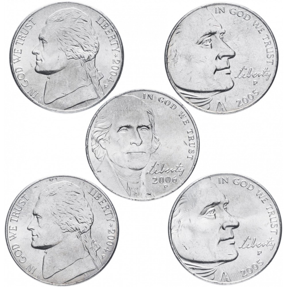 Набор Освоение Дикого Запада 5 центов 2004-2006 (Дикий Запад), 5 монет