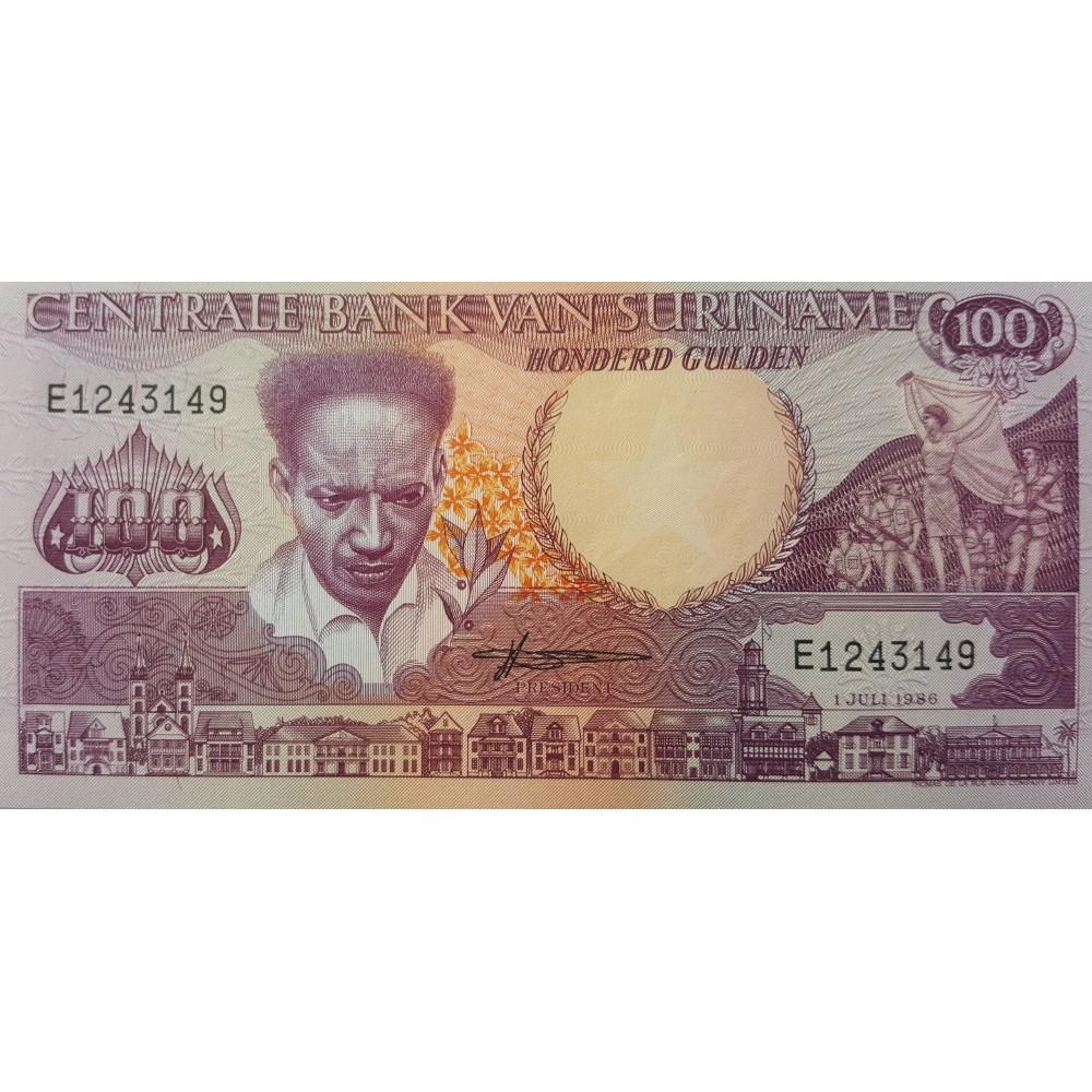 Суринам 100 Гульденов 1986 UNC пресс