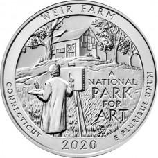 25 центов США 2020 Ферма Дж. А. Вейра - Национальное Историческое Место. 52-Й ПАРК. Двор D