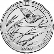 25 центов США 2020 Национальный заказник Таллграсс Прейри, 55-й парк