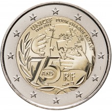 2 Евро 2021 Франция, 75 лет образования ЮНИСЕФ