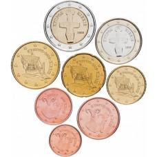 Набор евро монет Кипр, случайный год, 8 штук
