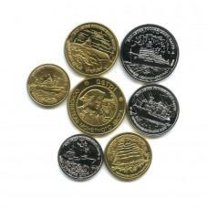 Копии набора монет 300 лет Российскому Флоту, 1996 г, 6 монет и жетон, копия