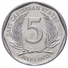 5 центов Восточные Карибы 2002-2015