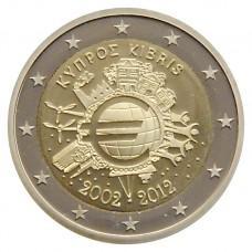 2 Евро 2012 Кипр UNC.10 лет наличному обращению евро