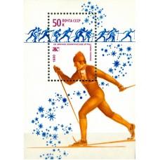 1980 XIII зимние Олимпийские игры в Лейк-Плэсиде, США.Лыжные гонки. Почтовый блок