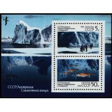 1990 Научное сотрудничество СССР и Австралии в Антарктиде. В блоке 2 марки 6215-6216. Размер 83х63 мм, Рам.12:12,5