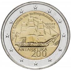 2 евро 2020 Эстония, 200 лет открытия Антарктиды корабль парусник UNC