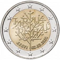 """2 Евро 2020 Эстония, """"100-летие Тартуского мирного договора"""" UNC"""