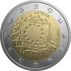 2 Евро 2015 Латвия UNC.30 лет флагу Европы.
