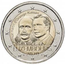 """2 евро 2020 Люксембург, """"200 лет со дня рождения принца Генриха Оранско-Нассауского"""" UNC"""