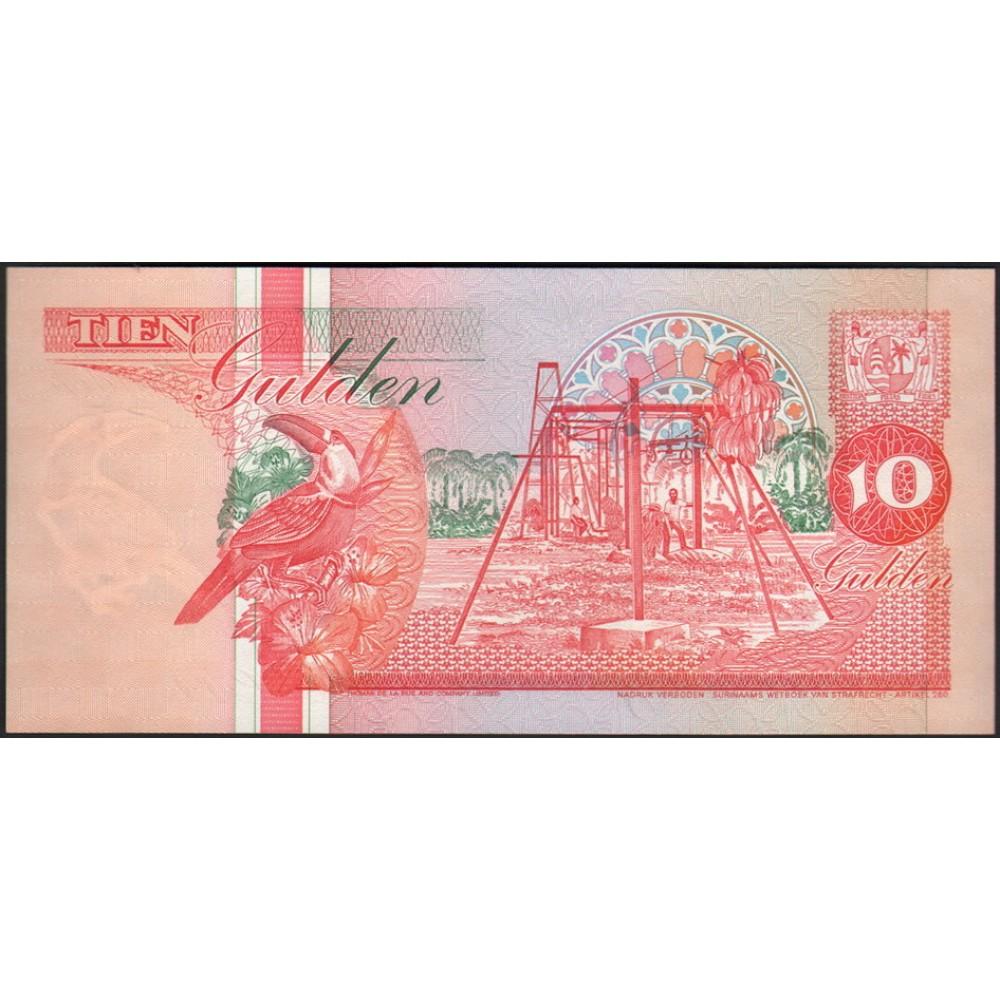 Суринам 10 Гульденов 1996 UNC пресс.