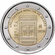 """2 евро 2020 Испания - """"Архитектура мудехар в Арагоне"""" UNC"""