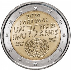 2 евро 2020 Португалия, 75 лет ООН UNC