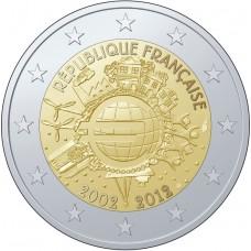 2 Евро 2012 Франция XF.10 лет наличному обращению евро