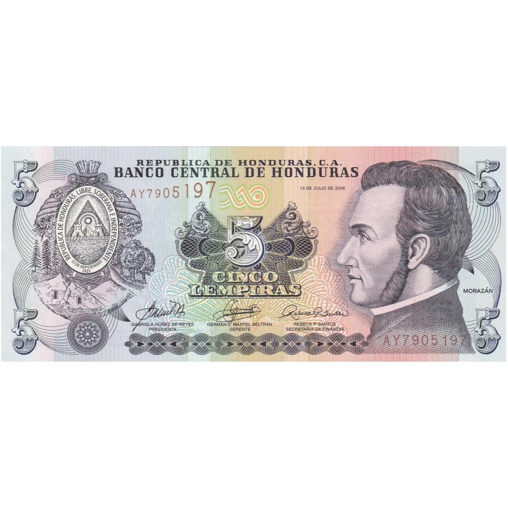 Купить банкноту  Гондурас 5 Лемпира 2014 UNC пресс. Сражение при Ла-Тринидад
