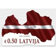 2018 Латвия.Латвийский национальный флаг в форме карты
