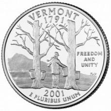 25 центов США 2001 Вермонт