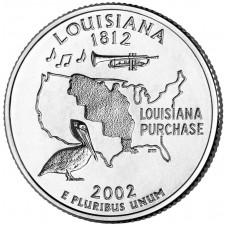 25 центов США 2002 Луизиана