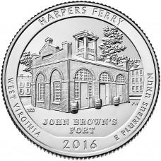 25 центов США 2016 Национальный исторический парк Харперс Ферри, 33-й парк