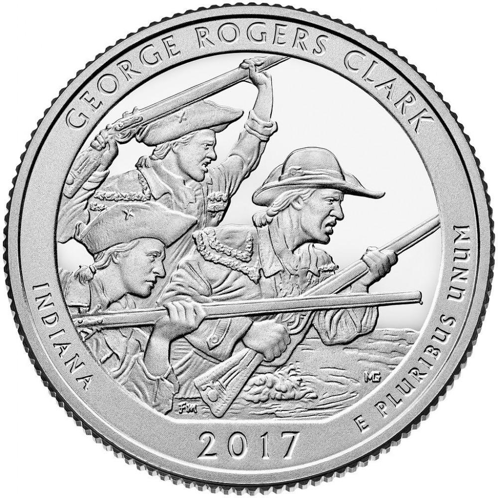 25 центов США 2017 Национальный парк Джорджа Роджерса Кларка, 40-й парк